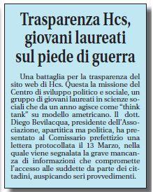 Articolo pubblicato sul quotidiano #LaProvincia @Civonlineit sulla nostra battaglia per la #Trasparenza dei dati #HCS