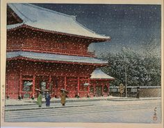 川瀬巴水: Snow at Zojoji Temple — 増上寺の雪 - Japanese Art Open Database