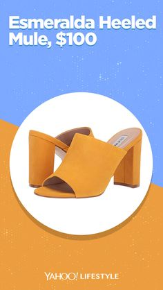 Shop it: $100, zappos.com Look your best in this Steve Madden Esmeralda Heeled Mustard Mule. Nubuck upper with a matter finish. Easy, slip-on. Open-toe silhouette. #shoes #stevemaden #mule #yellowshoe #mustardshoe #sandalheel #muleheel