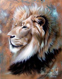 Copper King - Lion Print by Sandi Baker