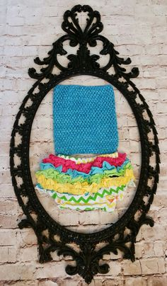 Rainbow chevron print with teal pink crochet top by goldenpenguin