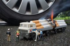 Miniature photography Contraband cigarettes