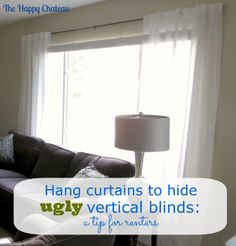 how to hide vertical blinds in apartments how to hang curtain rods and hardware. Black Bedroom Furniture Sets. Home Design Ideas