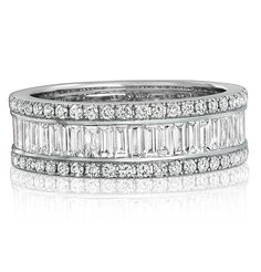 Mappin & Webb brilliant and baguette cut diamond eternity ring set in white gold from the Swallowtail collection Full Eternity Ring, Eternity Ring Diamond, Round Diamond Ring, Diamond Wedding Bands, Wedding Rings, Baguette Eternity Band, Baguette Diamond, Diamond Ring Settings, Floral Engagement Ring