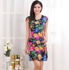 Hot Sale 2016 new arrival women summer slim printed dress O-Neck short sleeve casual floral plus size L--4XL dresses RY1670
