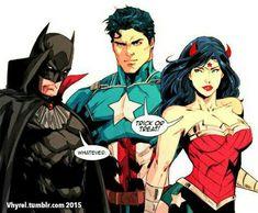 You tell 'em Diana! Batman/Superman/Wonder Woman © DC Comics Artwork © Trinity Not All Bats can Fly Superman X Batman, Batman Comic Art, Batman Comics, Dc Trinity, Arte Dc Comics, Superman Wonder Woman, Mundo Comic, Fiction, Dc Memes
