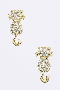 $10 Jewelry Special :: Crystal Cat Looking Back Earrings (Gold Tone) - $10