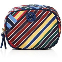 Tory Burch Ella Stripe Cosmetic Case (325 BRL) ❤ liked on Polyvore featuring beauty products, beauty accessories, bags & cases, blanket stripe, cosmetic bags, tory burch, make up bag, make up purse and travel bag