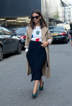 Midi Skirts and Long Jackets: Spring's Best Clothing Combo | Ditch Your Tights and Still Stay Warm This Spring