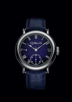 Introducing: H. Moser Heritage Perpetual Calendar Midnight Blue Enamel Gold Models, Perpetual Calendar, Fine Watches, Luxury Watches, Midnight Blue, Enamel, White Gold, Crystals, Accessories
