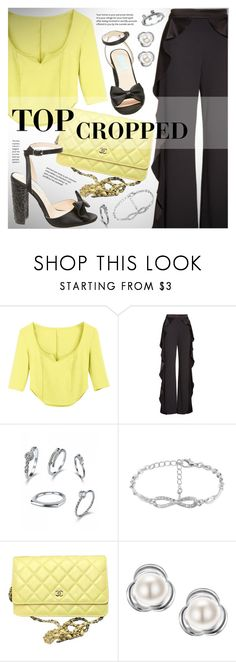 """""""Neon green cropped top"""" by vn1ta ❤ liked on Polyvore featuring Alice + Olivia, Chanel and Betsey Johnson"""