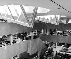 Design by Alto Aalvar  from his famous Academic Bookshop (1962), right in the centre of Helsinki and still jam-packed with books and people buying them. The first shows the sky lights, supposedly referencing the shape of open books, which allow natural light to flood the whole building. (photograph by Peter Barnes)