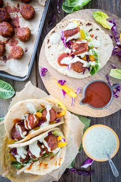 Buffalo Falafel with Vegan Tzatziki Ranch Sauce #glutenfree #vegan | Keepin' It Kind
