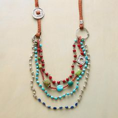 """GYPSY LORE NECKLACE--A caravan of color and charm—turquoise, lapis, carnelian—as well as rare trade beads and sterling silver, in a supple leather necklace handcrafted by Jes MaHarry. USA. Exclusive. Approx. 32""""L."""