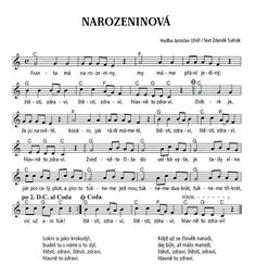 Písničky: Narozeninová | Výtvarná výchova I Love You, My Love, Kids Songs, Ukulele, Piano, Sheet Music, Singing, Happy Birthday, Classroom