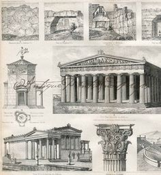 Antique Print Architecture Ancient Greek Buildings Vintage German Engraving Original Print