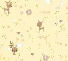 BABY DOE - YELLOW Boys Wallpaper, Vinyl Wallpaper, Animal Wallpaper, Textured Wallpaper, Wallpaper Roll, Baby Yellow, Yellow And Brown, Sticky Back Plastic, Vinyl Tablecloth