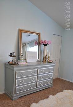Suburbs Mama: Master Bedroom Makeover Before and After. Lots of inexpensive ideas. Im always amazed at what a couple cans of paint can do! Suburbs Mama: Master Bedroom Makeover Before… Refurbished Furniture, Furniture Makeover, Painted Furniture, Diy Furniture, Bedroom Furniture, Repainting Furniture, Bedroom Makeover Before And After, Master Bedroom Makeover, Home Bedroom
