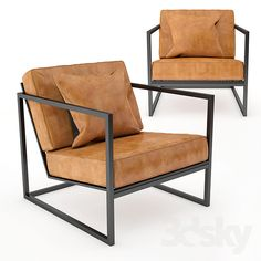 Black Metal Frame and Tan Leather Armchair Metal Frame Chair, Sofa Frame, Metal Chairs, Tan Leather Armchair, Sofa Furniture, Furniture Design, Chair Design, Black Metal, Projects