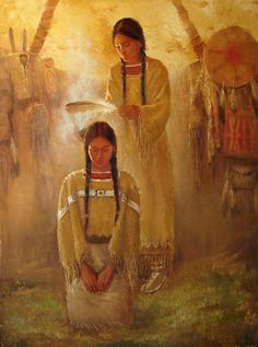 ♥ [Burn sage, juniper, etc. around your body, your pets, your home to clear unwanted energies] Artist: David Joaquin Native American Paintings, Native American Wisdom, Native American Artists, Native American Women, American Indian Art, Native American History, Native American Indians, Native American Makeup, American Legend