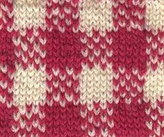 Knitted Gingham Swatch with colorwork chart.