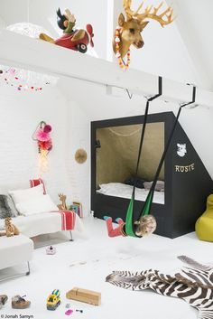 Love, love, love this girl's room with lots of playful elements.