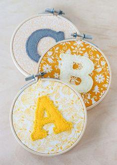 DIY: Alphabet Hoop Art | http://adventures-in-making.com/diy-alphabet-hoop-art/: