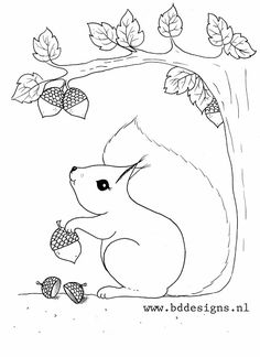 Free squirrel coloring page from BDDesigns. Fall Coloring Pages, Coloring Sheets, Coloring Books, Applique Patterns, Applique Quilts, Quilt Patterns, Autumn Crafts, Autumn Art, Squirrel Coloring Page