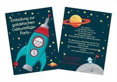 """5 Einladungskarten Kindergeburtstag """"Astronaut"""" von Cartissimi auf DaWanda.com"""