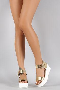 Bamboo Metallic Flatform Sandal