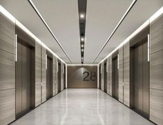 The perfect way of inviting someone to your home is through your interior lobby design. Proof that mid-century lighting designs are the ones to make any interio Elevator Lobby Design, Hotel Lobby Design, Corridor Design, Hall Design, Lobby Interior, Office Interior Design, Corporate Interiors, Office Interiors, Hotel Corridor