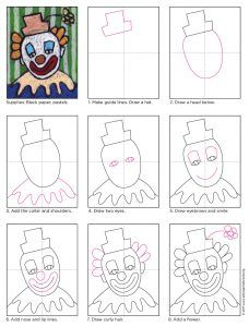Draw a Clown Face · Art Projects for Kids Learn how to make a clown face drawing on black paper so the classic white face and colorful features can really stand out. Drawing Lessons For Kids, Art Videos For Kids, Art Drawings For Kids, Easy Drawings, Art Lessons, Art For Kids, Clowns For Kids, Projects For Kids, Art Projects