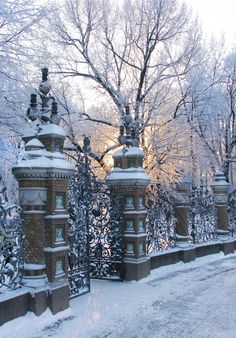 Gate and Fence of the Mikhailovsky Garden. City Landscape, Winter Landscape, Beautiful Places To Visit, Beautiful World, Russia Winter, St Petersburg Russia, Forest Path, Winter Magic, Winter Photos