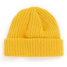 TOPMAN Mustard Super Mini Beanie (920 RUB) ❤ liked on Polyvore featuring men's fashion, men's accessories, men's hats and yellow
