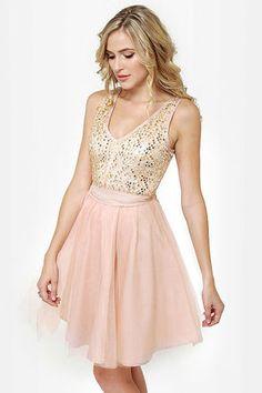 Pretty Blush Dress - Tulle Dress - Sequin Dress - Pink Dress - $50.00