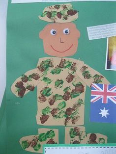 Make this soldier craft on ANZAC/Memorial/Veterans Day to remember how brave soliders are fighting for our country. The template is in 2 partsThe soldier body - includes the hat, body, arms Daycare Crafts, Classroom Crafts, Toddler Crafts, Crafts For Kids, Classroom Ideas, Classroom Activities, Army Crafts, Military Crafts, Veterans Day Activities