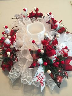 holiday centerpiece candle ring Deco mesh Christmas centerpiece red and teal poinsettia Christmas table decor snowman centerpiece