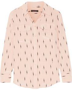 Kate Moss for Equipment - Slim Signature Printed Washed-silk Shirt - Blush