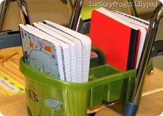 Great idea for a table caddy- perfect for keeping all those notebooks handy but easy to put away, too!