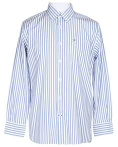 Tommy Hilfiger Blue and White Striped Shirt - L