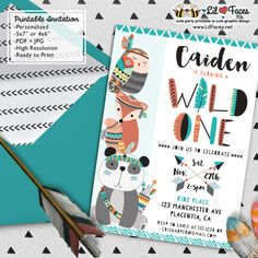 Wild one First Birthday Party invitations - Printable DIY Invitation - Personalized Invite card DIY party printables will save you time and money while making your planning a snap!
