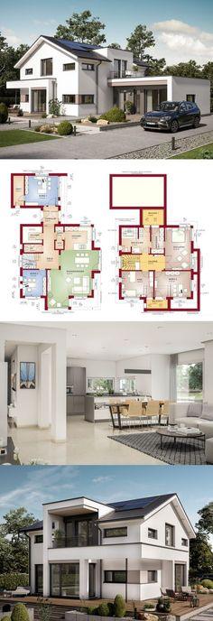 Satteldach-Haus mit Büro Anbau - Einfamilienhaus Concept-M 166 Bien Zenker - Fertighaus bauen Grundriss modern offene Küche mit separatem Büro Anbau - HausbauDirekt.de