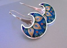 Cuento+cloisonné+enamel+silver+earrings+by+agoraart+on+Etsy,+$145.00