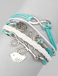 Mint Blue Bird Cord Bracelet