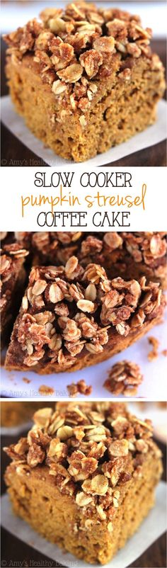 Clean-Eating Pumpkin Streusel Coffee Cake -- SO easy & made in the slow cooker! This skinny breakfast tastes like dessert, not healthy at all!
