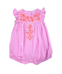 Paola  Pretty flutter sleeve romper with beautifully embroidered front.  Snaps for easy changing.  100% soft cotton