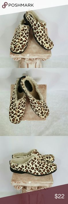 Brand new! Cole Haan Leopard print Mule Fun and so cute sheepskin lined Mule.  Rubber soles very comfortable Cole Haan Shoes Mules & Clogs