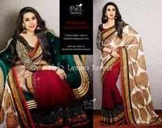 Karishma Kapoor Burgundy Saree. Ravishing Burgundy Crepe Saree With Off White Banarasi Pallu And Black & Gold Border. To Order Mail Us: shezlemon@gmail.com