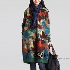 Платья : Теплое свободное платье с длинным рукавом и карманами в боковых швах
