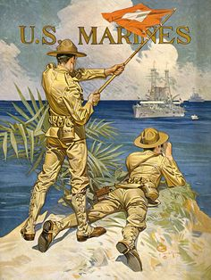 WW I U. Marines This WWI poster reads simply, 'U. Marines' and shows two Marines signaling a ship at sea. The poster was illustrated by J. Leyendecker in The image was used on WWI recruiting Us Marines, Jc Leyendecker, Once A Marine, Marine Mom, Ww2 Posters, Kunst Poster, Us Marine Corps, World War One, Military Art